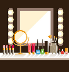 flat makeup workers workplace mirror decorative vector image vector image
