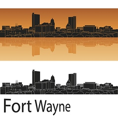 Fort wayne skyline in orange background vector