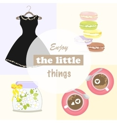 French macaron girl woman message enjoy day dress vector