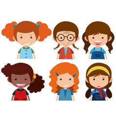 Girls with happy face vector