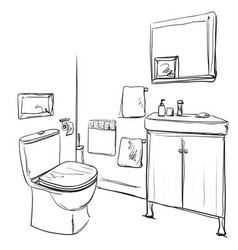 Hand drawn bathroom washbasin and furniture vector