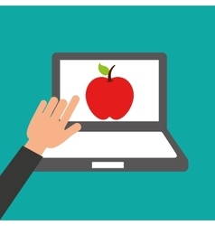 Hands holds laptop-apple online education vector
