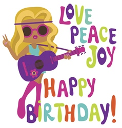 Happy birthday card with hippie girl guitarist vector