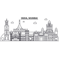 India mumbai architecture line skyline vector