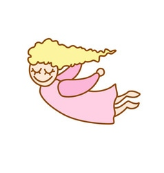Little cartoon flying girl vector