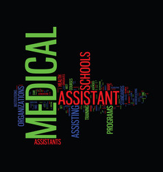 Medical assistant school text background word vector