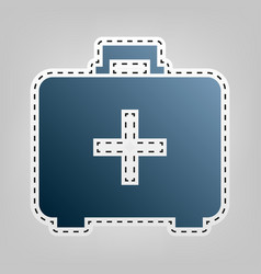 Medical first aid box sign blue icon with vector