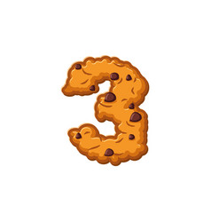 number 3 cookies font oatmeal biscuit alphabet vector image