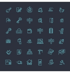 Outline web icons set - Real Estate vector image vector image