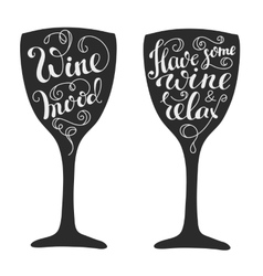Quotes about wine on wine glass silhouette vector image vector image