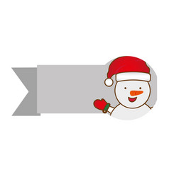 Ribbon with cartoon snowman christmas design vector