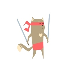 Samurai cat with two swords vector