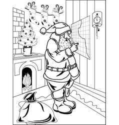 Santa claus in his house vector