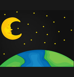 Scene with moon and stars at night vector