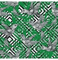 Seamless exotic pattern with colibri and palm vector
