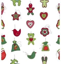 Seamless pattern with Christmas decoration on vector image vector image