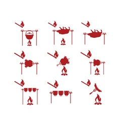 Set of coocking on campfire icons vector