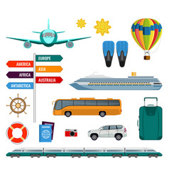 Set of summer holidays transport items vector