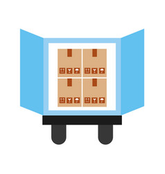 Truck delivery with boxes service icon vector