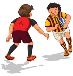 Two people doing rugby vector image vector image