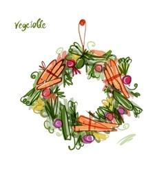 Vegetable frame sketch for your design vector image vector image