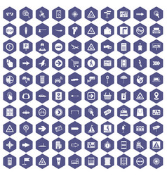 100 pointers icons hexagon purple vector
