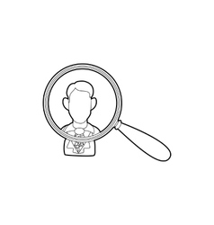 Businessman under magnifying glass icon vector