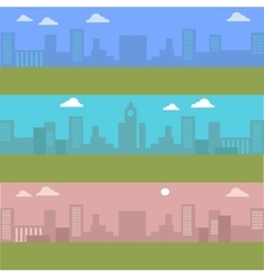 Set of urban cityscape silhouettes of buildings vector