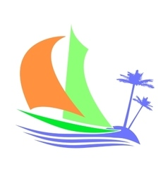 Symbolic image of a sailboat the islands vector