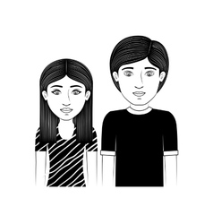 Silhouette couple teenager with hairstyle vector