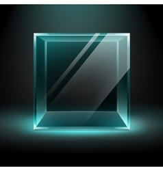 Transparent Glass Box Cube on Black Background vector image