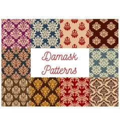 Damask ornate floral seamless pattern set vector