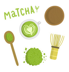 Matcha tea set isolated object vector