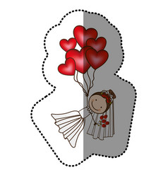 color bride with red heart balloons in the hands vector image