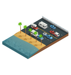 Recreational vehicles on road isometric vector