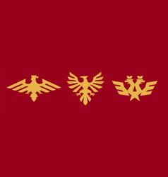 a set of logos heraldry eagle bird wings vector image
