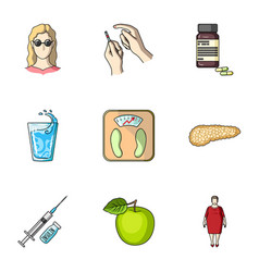 a set of icons about diabetes mellitus symptoms vector image