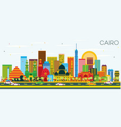 Cairo skyline with color buildings and blue sky vector