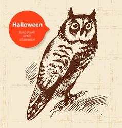 Halloween hand drawn owl vector image