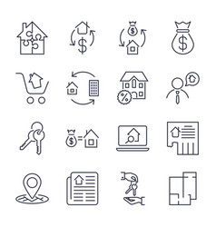 Real estate set of outline icons includes vector