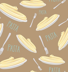 Pasta seamless pattern dish with noodles and fork vector