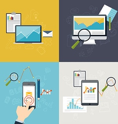 Set of web analytics information and development vector