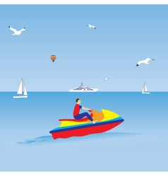 Man on a jet ski water sports summer vacation vector