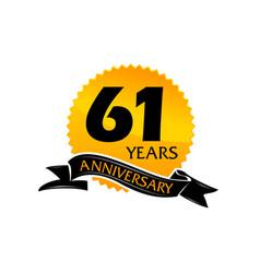61 years ribbon anniversary vector image