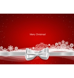 Christmas background gift bow and shiny ribbon on vector