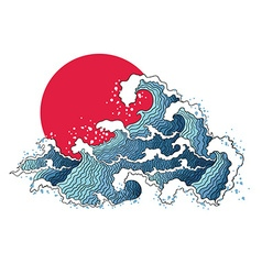 Asian of ocean waves and sun vector image