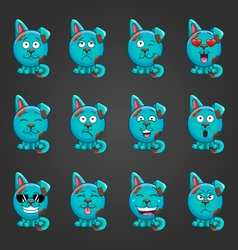 Set cute cartoon dog with different emotions vector