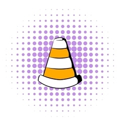 Traffic cone icon comics style vector
