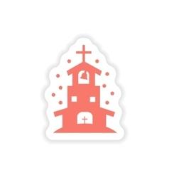 Paper sticker on white background christian church vector