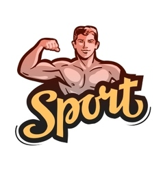 Sport or gym bodybuilder bends arm vector